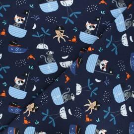 Printed jersey fabric - night blue Sea life x 10cm