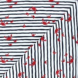 Printed jersey fabric - white Crabs x 10cm