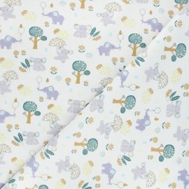 Printed jersey fabric - raw Happy elephants x 10cm