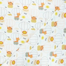 Printed jersey fabric - raw Animals in balloons x 10cm