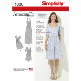 Adjusted dress sewing Pattern for Woman - Simplicity n°1800