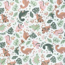 Printed jersey fabric - raw Flowery dinos x 10cm