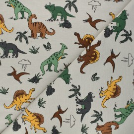 French terry fabric - sand Dino's world x 10cm