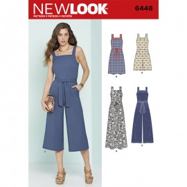 Square Neck Jumpsuit Sewing Pattern for Woman - New Look 6446