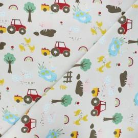 Tissu jersey Farm day - grège x 10cm