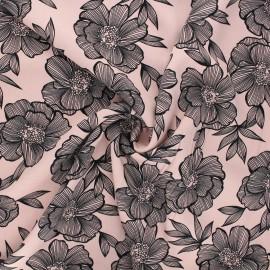 Twill viscose fabric - light pink Anémone x 10 cm