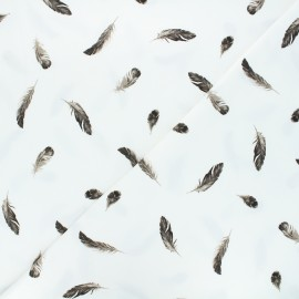 Printed jersey fabric - raw Sepia feathers x 10cm