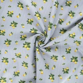 Tissu popeline de coton Summer lemon - gris clair x 10cm