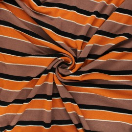 Tissu maille viscose lurex Pumpky - orange x 10cm