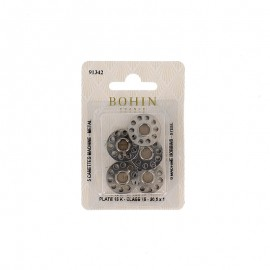 A pack of 5 metal machine bobbins 15 K plate BOHIN - silver