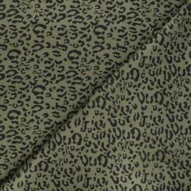 Suede elastane fabric - dark khaki Leopard x 10cm