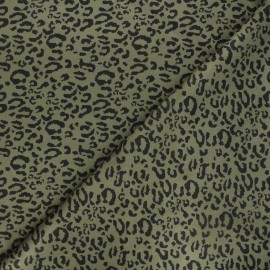 Tissu suédine élasthanne Leopard - kaki foncé x 10cm