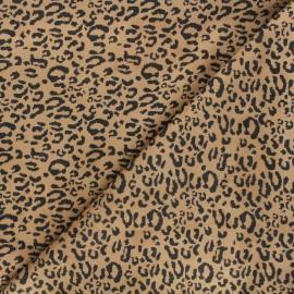 Suede elastane fabric - camel Leopard x 10cm