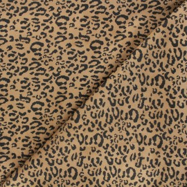 Tissu suédine élasthanne Leopard - camel x 10cm