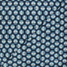 Tissu jersey Circle fox - bleu nuit x 10cm