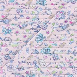 18 mm cotton bias binding - pink Summer balade x 1m