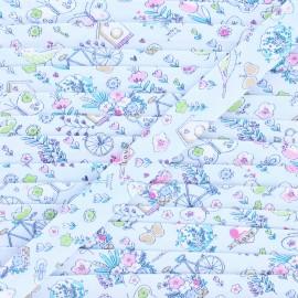 18 mm cotton bias binding - blue Summer balade x 1m