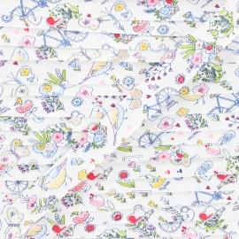 Biais coton Summer balade 18 mm - blanc x 1m