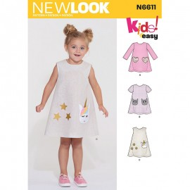 Trapeze Dress Sewing Pattern for Kids - New Look 6611