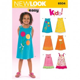 Straight Dress Sewing Pattern for Kids - New Look 6504