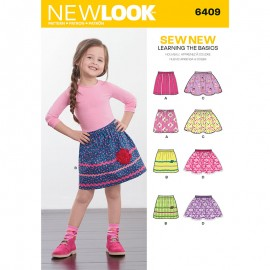 Elastic Waist Skirt Sewing Pattern for Kids - New Look 6409