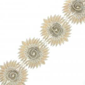 Embroidered flower ribbon - gold Chrysanthemum x 50cm