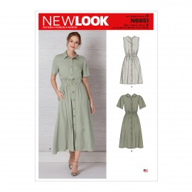 Shirt Dress Sewing Pattern for Woman - New Look 6651