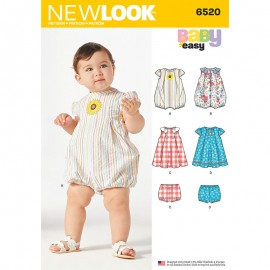 Short Sleeves Romper Sewing Pattern for Babies - New Look 6520