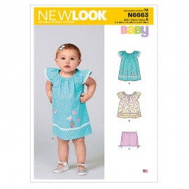 Ruffle Cuff Dress Sewing Pattern for Babies - New Look 6663