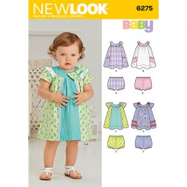 Short Sleeves Dress Sewing Pattern for Babies - New Look 6275