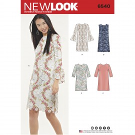 Straight Dress Sewing Pattern for Woman - New Look 6540
