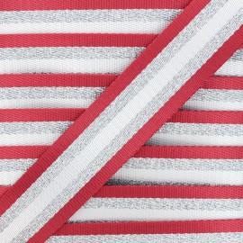 Sangle lurex Raya argenté 38 mm - rouge x 1m