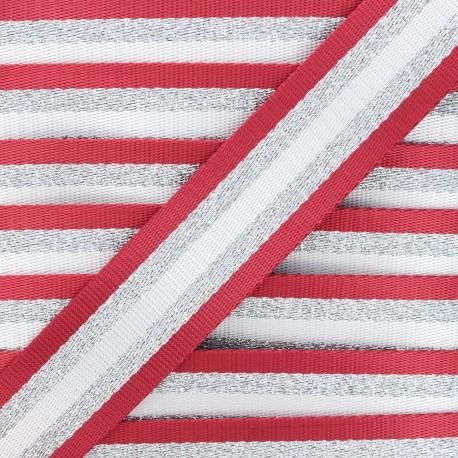 38 mm silver lurex strap - red Raya x 1m