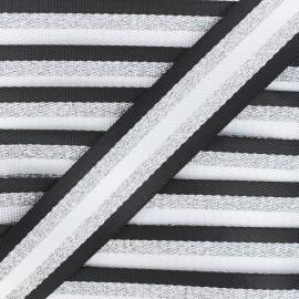 38 mm silver lurex strap - black Raya x 1m