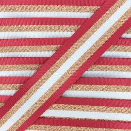 Sangle lurex Raya cuivré 38 mm - rouge x 1m