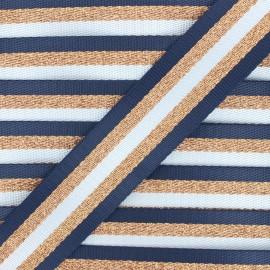 38 mm copper lurex strap - navy blue Raya x 1m