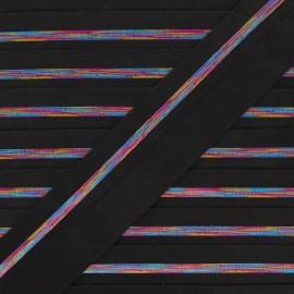 20 mm Elastic bias binding - black/ multicolor Zeda x 50cm