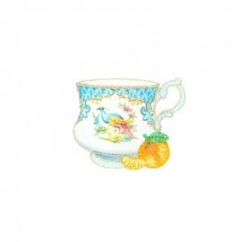 Lurex iron-on patch - Tasse paon Tea time