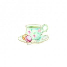 Lurex iron-on patch - Tasse macaron Tea time