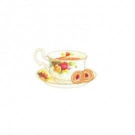 Thermocollant lurex Tea time - Tasse fleurie