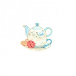 Lurex iron-on patch - Théière papillon Tea time