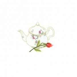 Lurex iron-on patch - Théière délicate Tea time