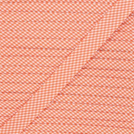 20 mm polycotton bias binding - orange Petit vichy x 1m