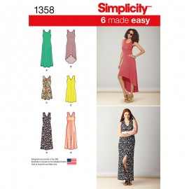 Sleeveless dress sewing pattern for Woman - Simplicity n°1358