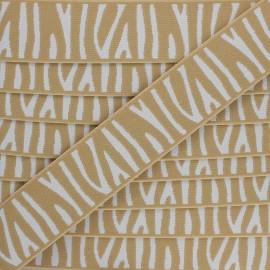 40 mm Flat elastic - beige Zebra x 50cm