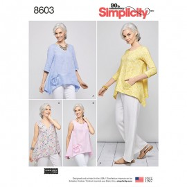 Asymmetric wide blouse sewing pattern for Woman - Simplicity n°8603