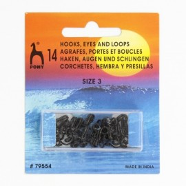 Hooks, eyes and loops size n°3 - black brass