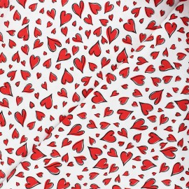 Timeless Treasures cotton fabric - white Parisian hearts x 10cm