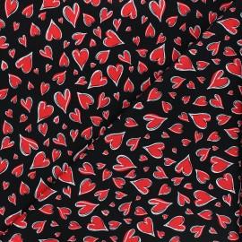Timeless Treasures cotton fabric - black Parisian hearts x 10cm