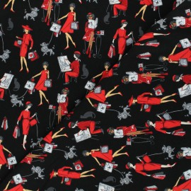 Timeless Treasures cotton fabric - black Parisian women x 10cm